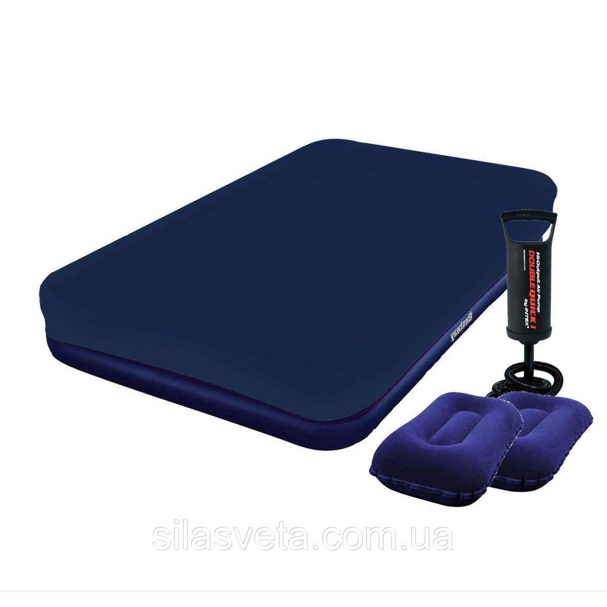Надувной полуторный матрас Bestway 67002-2 (183х203х22 см.) + 2 подушки, наматрасник и ручной насос.