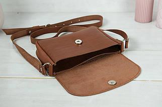 Сумка жіноча. Шкіряна сумочка Мія, Шкіра Італійський краст, колір Коричневий, тиснення №2, фото 3