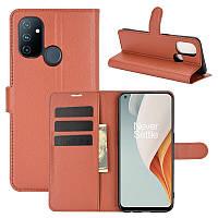 Чехол Fiji Luxury для OnePlus Nord N100 книжка коричневый