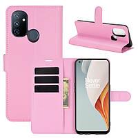 Чехол Fiji Luxury для OnePlus Nord N100 книжка светло-розовый