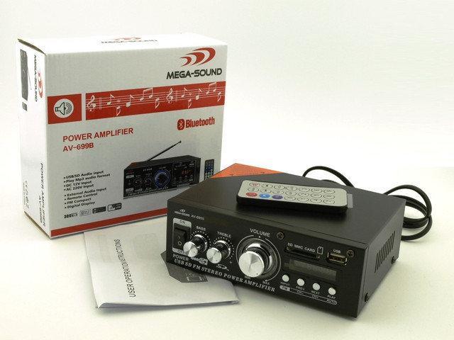 Усилитель звука AV-699B. Bluetooth. 12 V. Mp3