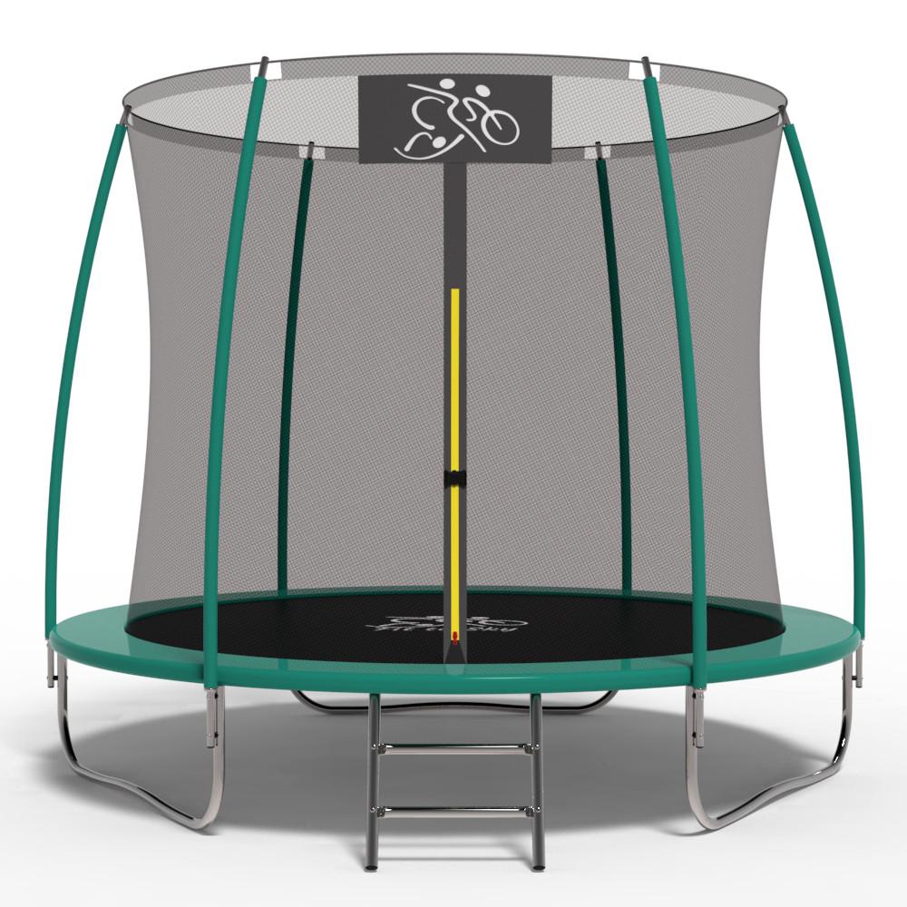 Батут FitToSky 252С см с внутренней сеткой и лесенкой для детей и взрослых