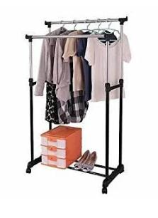Двойная телескопическая напольная стойка вешалка передвижная для одежды и обуви Double Pole Clothes Horse 160