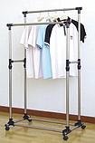 Двойная телескопическая напольная стойка вешалка передвижная для одежды и обуви Double Pole Clothes Horse 160, фото 3