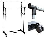 Двойная телескопическая напольная стойка вешалка передвижная для одежды и обуви Double Pole Clothes Horse 160, фото 9