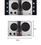 Електроплита настільна побутова DSP KD-4047, компактна кухонна потужна плита на 2 конфорки дискова, фото 3
