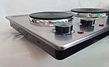 Електроплита настільна побутова DSP KD-4047, компактна кухонна потужна плита на 2 конфорки дискова, фото 7