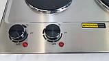 Електроплита настільна побутова DSP KD-4047, компактна кухонна потужна плита на 2 конфорки дискова, фото 8