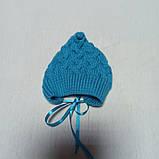 Костюм для новорожденного вязанный модный красивый нарядный оригинальный бирюзового цвета для мальчика., фото 5