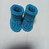 Костюм для новорожденного вязанный модный красивый нарядный оригинальный бирюзового цвета для мальчика., фото 4