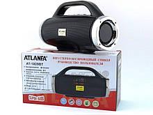 Невелика портативна бездротова колонка Atlanfa 1829BT з радіо, USB, SD, Bluetooth, дисплеєм, сабвуфером