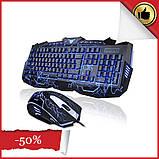 Набір професійної провідної ігрової клавіатури з USB і мишкою V-100P, комплект геймерський з 3 підсвічуваннями, фото 2