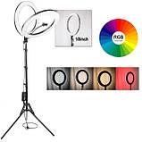 Подсветка и вспышка светодиодная для селфи, круглая лампа Led, Selfie кольцо для фото, набор блогера MJ20 RGB, фото 10