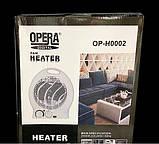 Тепловентилятор побутовий електричний OPERA DIGITAL OP-H0002. Портативний вентилятор або обігрівач. Дуйчик, фото 3