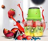 Кухонный электрический блендер двойной измельчитель, Молния от LEOMAX для мяса овощей и фруктов чоппер, фото 4