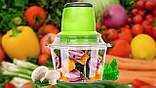 Кухонный электрический блендер двойной измельчитель, Молния от LEOMAX для мяса овощей и фруктов чоппер, фото 10