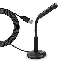 Микрофон проводной (1.4 м) для компьютера ноутбука дома  Soncm USB-4 Black, фото 1