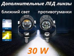 Led Линзы дополнительного света в противотуманки мотоцыкл авто белый желтый свет Cyclone led mf-01