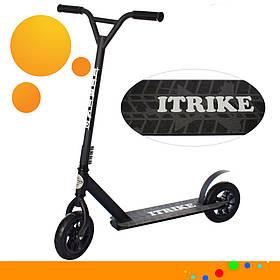 Трюковий самокат на надувних колесах (Ø 200 мм) iTrike SR2-070-B Чорний   Позашляховик для дерті і бездоріжжя