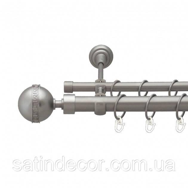 Карниз для штор металлический ТАВРИКА двойной 25+19мм 2.4м Цвет Сатин Никель
