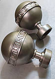 Карниз для штор металлический ТАВРИКА двойной 25+19мм 2.4м Цвет Сатин Никель, фото 2