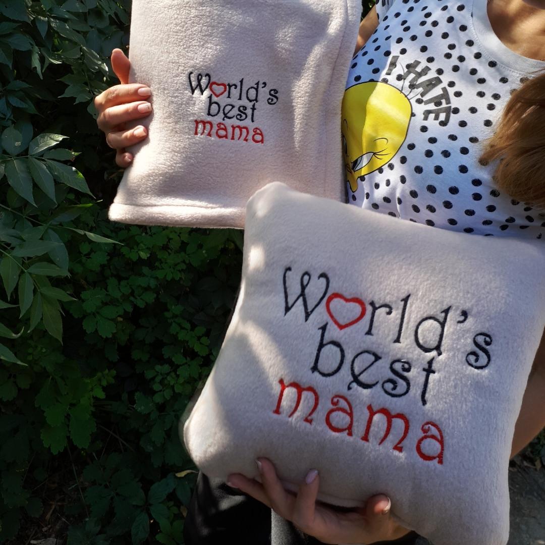 """Набір: подушка + плед """"world's Best Mama"""" 05 колір на вибір"""