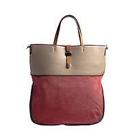 Качественная женская сумка из экокожи бежевая