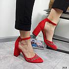 Туфлі зі стразами червоний экозамша 36-40, фото 2