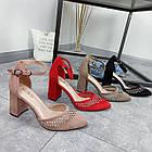 Туфлі зі стразами червоний экозамша 36-40, фото 3
