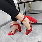 Туфлі зі стразами червоний экозамша 36-40, фото 4