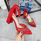 Туфлі зі стразами червоний экозамша 36-40, фото 8