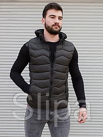Мужская утеплённая жилетка хаки , капюшон съемный