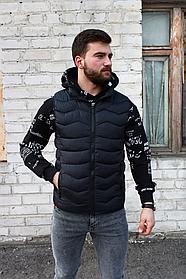 Мужская утеплённая жилетка чёрная , капюшон съемный