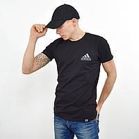 Чоловіча футболка з накаткою на грудях і спині Adidas (репліка) чорний