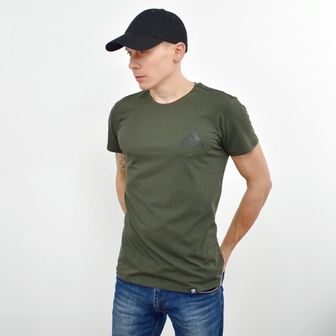 Мужская футболка с накаткой на груди и спине Adidas (реплика) хаки