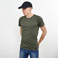 Чоловіча футболка з накаткою на грудях і спині Adidas (репліка) хакі, фото 1