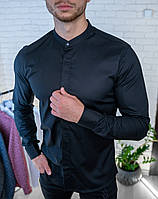 Мужская рубашка черная однотонная без воротника