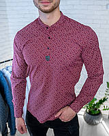 Мужская рубашка бордовая на 3 пуговицы хлопковая