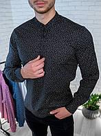 Мужская рубашка черная с мелким принтом/ 4 цвета в наличии