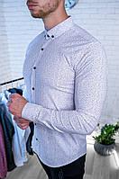 Рубашка мужская приталенная белая с мелким принтом/ Турция
