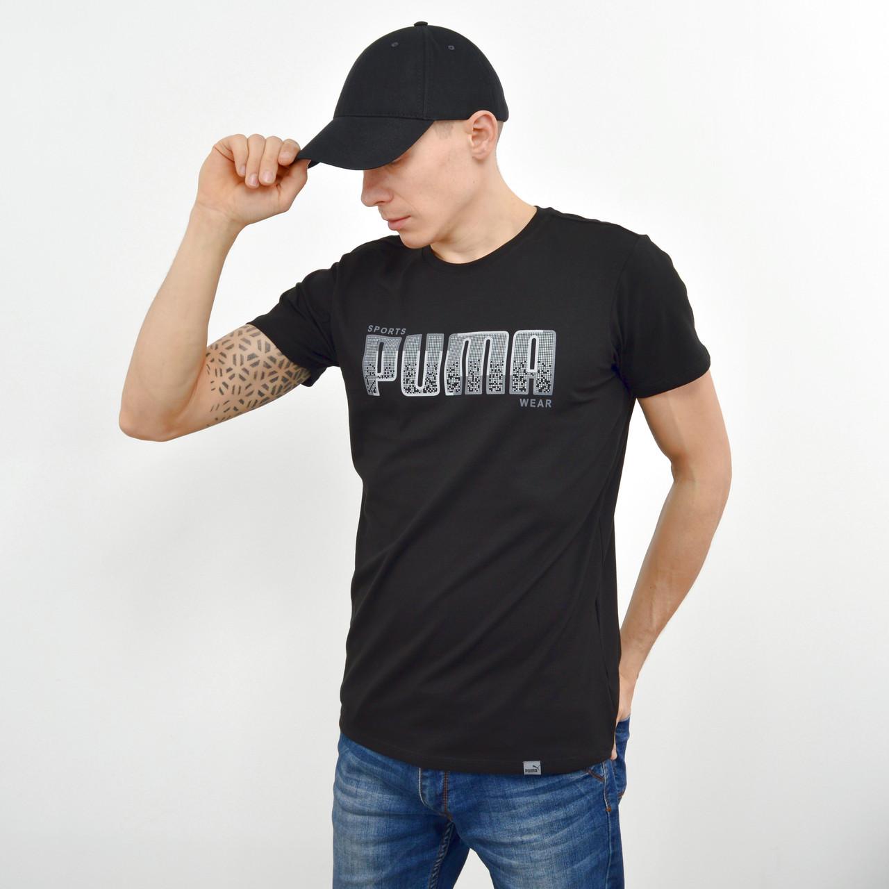 Мужская футболка с накаткой Puma (реплика) черный