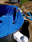 Замена плёнки ПВХ в круглых каркасных бассейнах 7,3 х 3,7 м Azuro, Mountfield Ibiza Hoby pool Atlantic pools