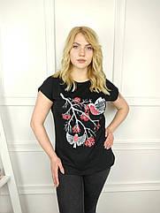 Женская футболка батал, 52-62рр, птицы, черный