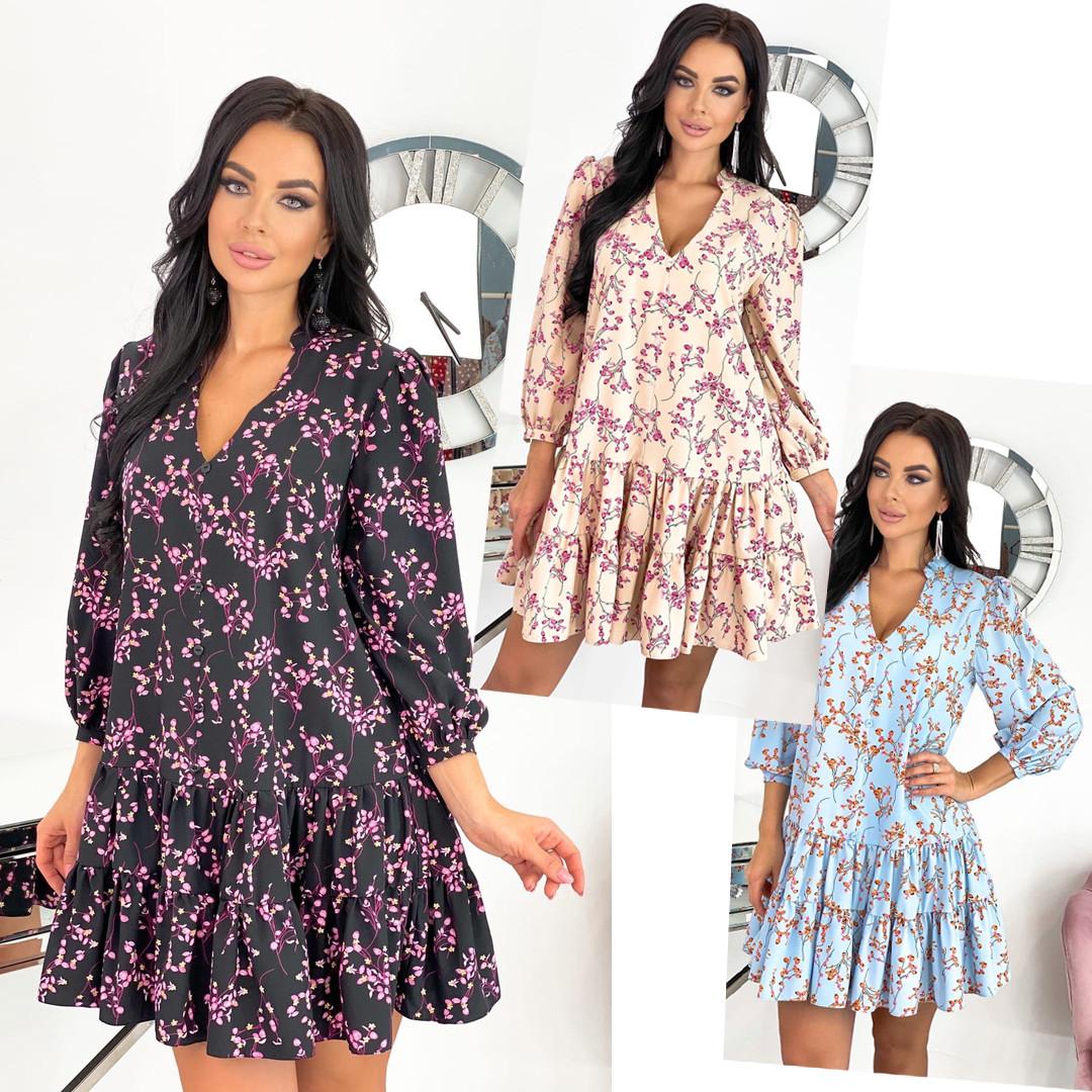 Вільний весняна сукня з яскравим принтом 50-656