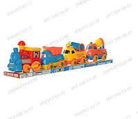 Набор транспорта 19052A. Паровозик и три машинки. Детские машинки и поезда. Свет + музыка