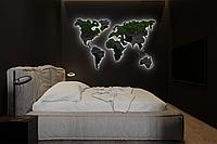 Карта Мира с подсветкой, гравировкой названий стран и границ, стабилизированный мох XXL-250x150 см