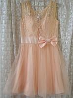 Платье женское шикарное нарядное выпускное гипюр фатин мини бренд Laona р.42 4511