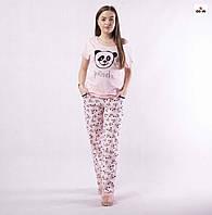 Піжама жіноча літнє домашня рожева з пандами р42-54, фото 1