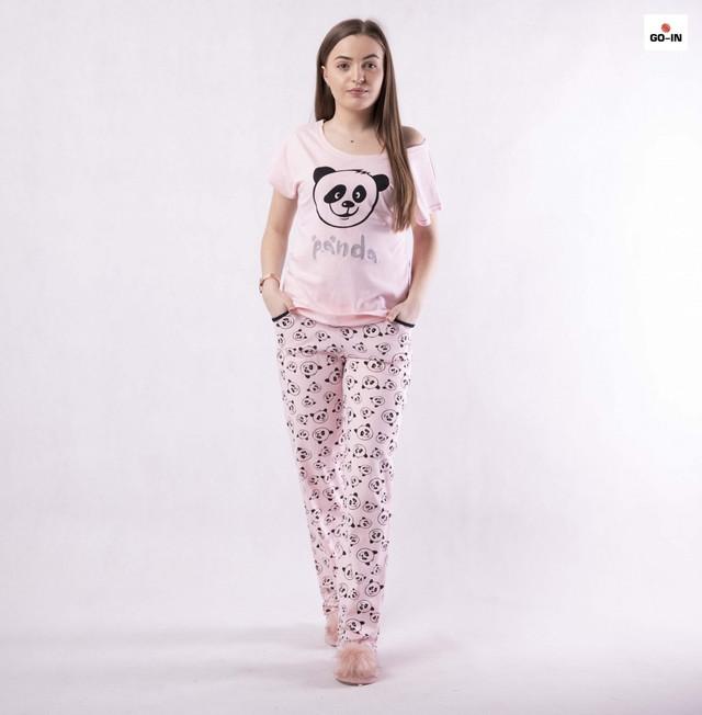 Піжама жіноча літнє домашня рожева з пандами р42-54