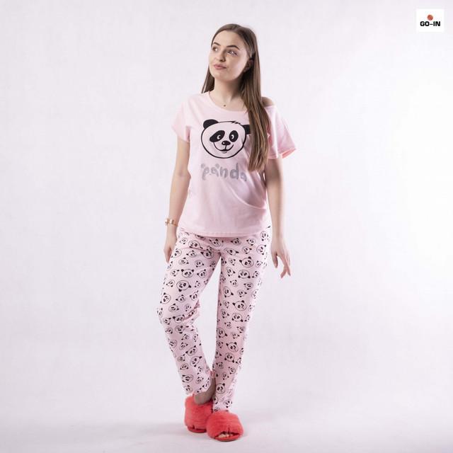 Піжама жіноча літнє домашня рожева з пандами